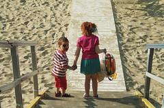 Portrait (Natali Antonovich) Tags: portrait beach childhood children seaside blankenberge stairway stare seashore seasideresort belgiancoast seaboard