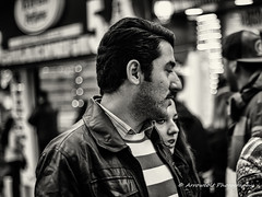 Street 145 (`ARroWCoLT) Tags: street people blackandwhite bw white man art girl monochrome smile night canon dark walking photography 50mm blackwhite couple dof open dress market bokeh young istanbul wear depthoffield clothes human bazaar cloth f18 mont insan sokak kadky pazar lowlightphotography 700d arrowcolt