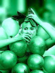 Drink your greens! (Darling Starlings Flying the Nest) Tags: woman face race balloons drinking grapes wheelbarrow kington 2016