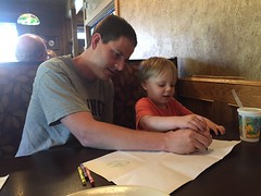 "Paul and Daddy Draw Cubes at Smokehouse BBQ • <a style=""font-size:0.8em;"" href=""http://www.flickr.com/photos/109120354@N07/27754673612/"" target=""_blank"">View on Flickr</a>"