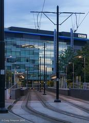 The Beeb, Media City, Salford Quays. 23rd June 2016. (craigdouglassimpson) Tags: england buildings reflections transport salfordquays lancashire bbc transportation trams tramlines mediacity