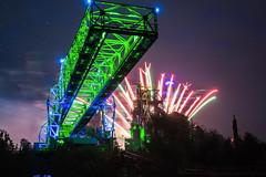 Active again (Fabian F_) Tags: industry colors museum night germany lights fireworks event nrw landschaftspark kran ruhrgebiet duisburk