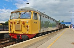 56081 at Swinton - Shipley to Cardiff Tidal Scrap Train - 24th June 2016 (allan5819 (Allan McKever)) Tags: uk travel england station metal train diesel yorkshire transport traction engine rail railway loco locomotive scrap freight wagons swinton class56 56081 6z35