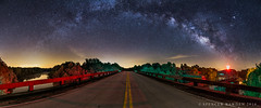 Bridge to Beyond (Spencer Bawden Photography) Tags: road street bridge light panorama color colors lines yellow night river way georgia stars spiral photography frames highway colorful shot pano south southcarolina panoramic double astro galaxy pollution carolina augusta shooter savannah spencer middle milky stitched aiken bawden