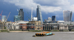 London - The River Thames (surreyblonde) Tags: londonskyline london uk city thames river water heart buildings architecture cheesegrater walkietalkie natwesttower tower42 highrise glass pipes tide flowing heartoflondon canon g15 explore inexplore beach sand shore lloydsoflondon