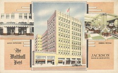 Walthall Hotel - Jackson, Mississippi (The Cardboard America Archives) Tags: vintage mississippi hotel postcard