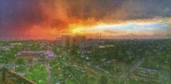 after the rain (Pejasar) Tags: sunset tulsa cityscape impression paint rain clouds color oklahoma paintcreations