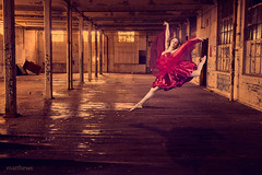 Red Dress-Factory Ballet Composite (Zoomie2008) Tags: lighting light red ballet composite photoshop canon ballerina factory moody dress dancing manipulation dancer woodstock reddress brantford matthews