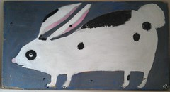 big bunny (oswald flump) Tags: wood white black rabbit bunny art painting found folk naive