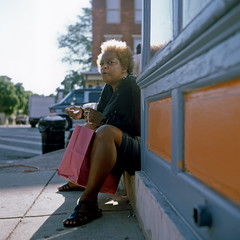(patrickjoust) Tags: street city portrait people urban woman usa sunlight southwest color 120 6x6 tlr film analog america hair square lens person us reflex md focus sitting fuji mechanical united north patrick twin maryland slide baltimore chrome medium format 28 states manual 80 joust e6 estados reversal unidos sowebo fujichromeprovia100f autaut patrickjoust lipcarollopautomatic28