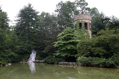 Chimes Tower and Waterfall (Jim, the Photographer) Tags: flowers plants nature gardens longwood