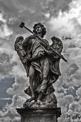 Angel (V.i.c.k.y) Tags: sky bw italy vatican rome statue angel clouds europe gritty ppc nikond90