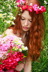 Donna #2 (Sara (Sarah) Salvitti) Tags: pink flowers red 2 portrait woman flower colour green girl fashion vintage hair photography photo model artist colours antique longhair retro daisy freckles redhair dalila