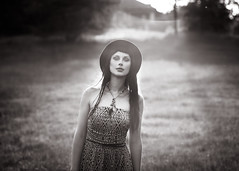 solipsism (solecism) Tags: sunset portrait blackandwhite woman nature field outdoors solitude naturallight bohemian elyse theearthisonfire