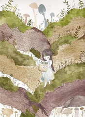 Gathering (Pocket-mouse) Tags: tree cute art nature girl illustration fairytale watercolor painting mushrooms moss drawing whimsical