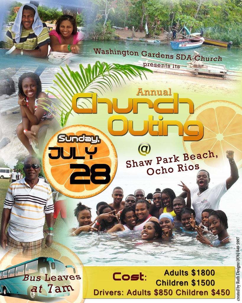 Church Outing Flyer RuthDesignsja Tags Park Trip Beach Jamaica Ocho Shaw