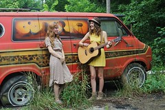 Vintage ({make.me.a.vessel}) Tags: travel girls friends summer music moon art beautiful hat sunshine vintage outside happy belt woods women 60s colorful pretty flat god guitar folk song jesus hipster band teens sunny tire luna adventure explore wv westvirginia dresses artists thankful acoustic hippie laughter summertime fedora van gsa 18 signing wandering christians fairmont talented 40s romper governorsschoolforthearts lunaguitar rivesville