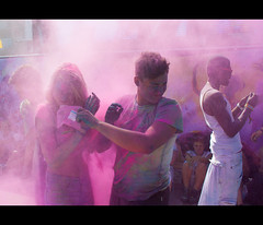 In a cloud of colour (SK-Photography.com) Tags: pink light party music guy girl festival canon lens relax fun eos dj colours hamburg enjoy kit 1855mm f56 holi available 500d