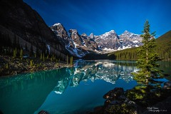 LAKE MORAINE (Ruth Yates) Tags: blue lake snow canada mountains reflection water beauty landscape scenic pinetrees mothernature therockies lakemoraine dpswater