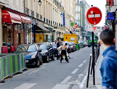 go on then (n.a.) Tags: street man paris france public sign crazy candid criminal angry topless drama violent