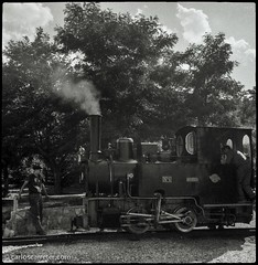"Locomotora ""Hulla"" (Carlos.Carreter) Tags: railroad blackandwhite blancoynegro rodinal yashica locomotora ferrocarril steamlocomotive hulla utrillas mediumforma formatomedio shanghaigp3pan100"
