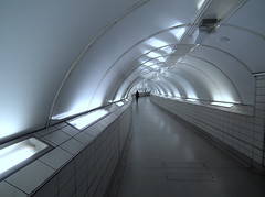 Lone Traveller (dhcomet) Tags: station tube corridor bank walkway bleak passage lu tfl eerily