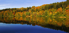 Autumn Afternoon at the Lake II (Batikart) Tags: travel blue autumn trees red sky orange plants lake color colour reflection green rot fall nature water colors leaves yellow clouds forest canon germany landscape geotagged deutschland freedom see leaf pond wasser europa europe colours peace stitch herbst natur himmel tranquility sunny foliage gelb greenery recreation grün blau relaxation ursula blatt landschaft wald bäume spiegelung indiansummer reise sander stausee badenwürttemberg göppingen herbstfärbung 2013 200faves adelberg viewonblack 300faves klosteranlage herbstfarbe 400faves batikart herrenbachstausee herrenbachtal canonpowershotg11 autumncolouring