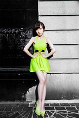 (hongyinzhu) Tags: green girl fashion highheel fluorescent symmetric glowing