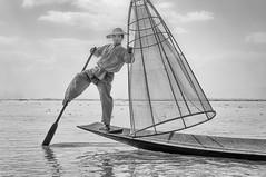 Myanmar- (@lain G) Tags: lac myanmar pêcheur pirogue noirblanc nasse lacinlé inlélake