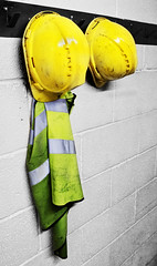 Hats Hanging on Hooks #22 Aliteration (Trevor King 66) Tags: hardhat hat yellow wall high nikon hanging protection viz highviz d3100 114picturesin2014 {vision}:{outdoor}=0789 {vision}:{text}=0535 22aliteration