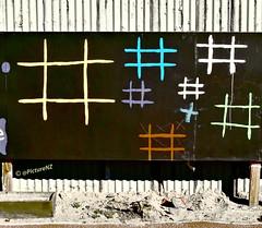 Bring Your Own Chalk (Steve Taylor (Photography)) Tags: shadow newzealand christchurch sun streetart wall fence chalk iron brighton board canterbury southisland corrugated oxo newbrighton byo xox naughtsandcrosses