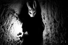 don't ask... follow me. (noisesnoozer) Tags: blackandwhite white black rabbit fire scary hole time bn follow bianco nero tictac biancoenero whiterabbit coniglio bianconiglio seguimi