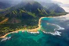 Tunnels Beach aerial (Emily Miller Kauai) Tags: beach hawaii flight aerial kauai tunnels reef haena wingsoverkauai