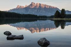 Two Jack Lake (Jeremy Duguid) Tags: park morning travel two lake canada reflection sunrise canon jack rockies dawn jeremy canadian national alberta banff duguid