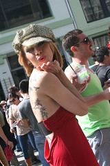 Blowing a Kiss (shaire productions) Tags: sf sanfrancisco people urban woman girl festival lady female photo costume women image candid picture streetphotography pic fair photograph moment fest imagery howweird howweirdstreetfaire