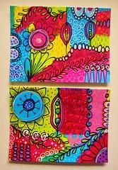 Colorful postcards (MakeArtBeHappy) Tags: flowers colors acrylic postcard card doodles artcard boldcolors paintpen happyart colorfulart intuitiveart