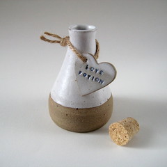 Love Potion Bottles (Jude Allman) Tags: white ceramic hearts ceramics heart handmade crafts craft jude clay stoneware allman