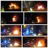Keep Left.. (Mike-Lee) Tags: snow car collage fire smoke sheffield picasa police nightshift heat policecar explosions explode burntout bluelights caronfire fieengine vandlism jan2015