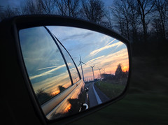 Looking back (VillaRhapsody) Tags: sunset car mirror evening driving thenetherlands zeeland windmills middelburg challengeyouwinner