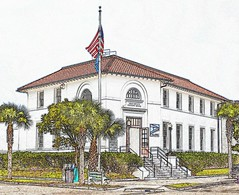 Post Office (soboy5) Tags: trees building architecture illustration palms tile downtown florida flag stucco coloredpencil apalachicola