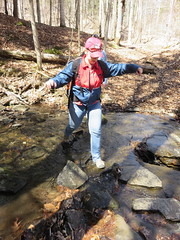 Leah Crossing The Brook (amyboemig) Tags: spring stream vermont crossing hiking stones leah ham hike trail stepping norwich april brook vt billballardtrail charlesbrownbrook