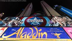 Captain America: Civil War (DSC04922) (Michael.Lee.Pics.NYC) Tags: newyork night advertising hotel sony billboard civilwar timessquare comicbook superhero aladdin marvel captainamerica paramount marriottmarquis videoscreens voigtlanderheliar15mmf45 a7rm2