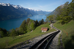 inspection of the Brienz Rothorn Railway (Toni_V) Tags: leica lake alps landscape schweiz switzerland spring europe brienzersee suisse 28mm perspective rangefinder bern mp alpen svizzera frhling berneroberland berneseoberland 2016 cograilway zahnradbahn brienzrothornbahn svizra lakebrienz leicam elmaritm digitalrangefinder messsucher 160521 typ240 toniv m2400189