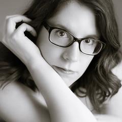 With Glasses (kate.millerwilson) Tags: woman selfportrait monochrome glasses f14 voigtlander depthoffield 58mm nokton