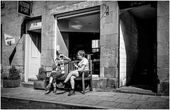 Coffee Break . (wayman2011) Tags: street uk people bw mono scotland candid cafes dornoch lightroom cafeculture wayman2011 fujifilmx70