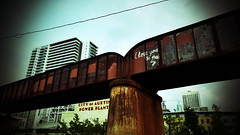 22-52 Bridge (transit addict 327) Tags: park bridge skyline austin downtown g4 texas lg phonecamera 2016 52weekchallenge