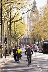 East-west Cycle Superhighway (Joe Dunckley) Tags: road street uk england people tree london westminster person cycling housesofparliament bigben clocktower avenue cycletrack embankment palaceofwestminster cycleway cyclelane cityofwestminster cyclesuperhighway