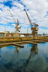 Cranes (shashin62) Tags: sydney nsw australia cockatooisland ww2 factory machinery bw