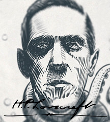 Ink portrait of H.P. Lovecraft (Futurilla) Tags: cthulhu hpl author hplovecraft inkdrawing creativecommonsattribution