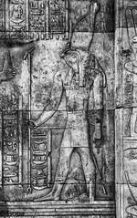 Horus the Elder, Kom Ombo Temple (gambat) Tags: monochrome temple religion egypt nile horus aswan egyptology komombo egyptiangods egyptianarchitecture